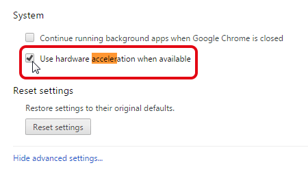 Access to Google Chrome hardware acceleration settings