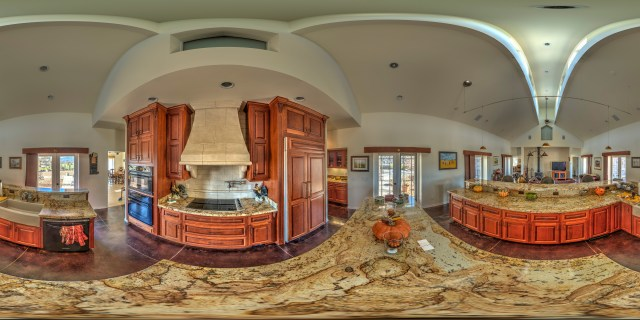 "An example for a raw image in 360 degrees: ""From the Kitchen Countertop. Hilltop Castle Near Willits"", courtesy Bob Dass (https://flic.kr/p/pY71s9), CC BY 2.0 licensed, no changes were made."