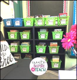 classroom library organization bins