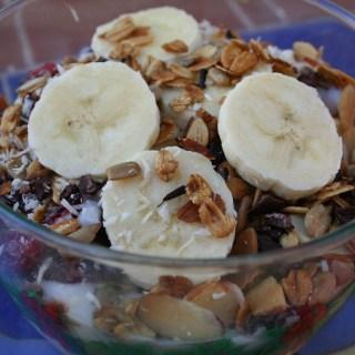 Coconut Yogurt and Trail Mix with Vanilla Almond Granola