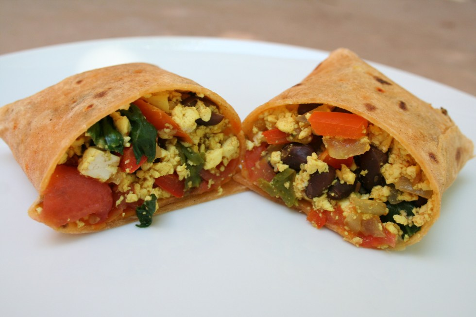 Tofu Scramble and Black Bean Breakfast Burrito (vegan, gluten free) - This easy meal can be made in no time. It is perfect for breakfast on the go!