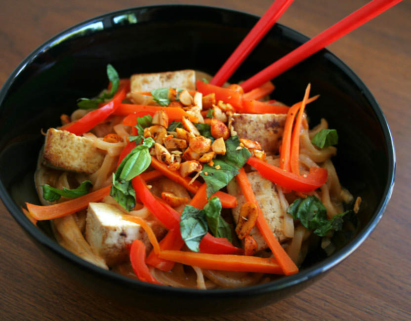 Tofu and Thai Noodles with Peanut Sauce close up.