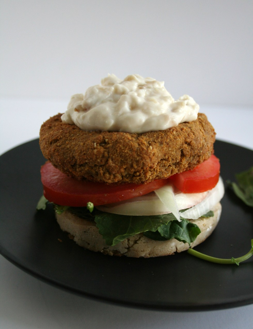 Lentil Burger with Roasted Garlic Mayo