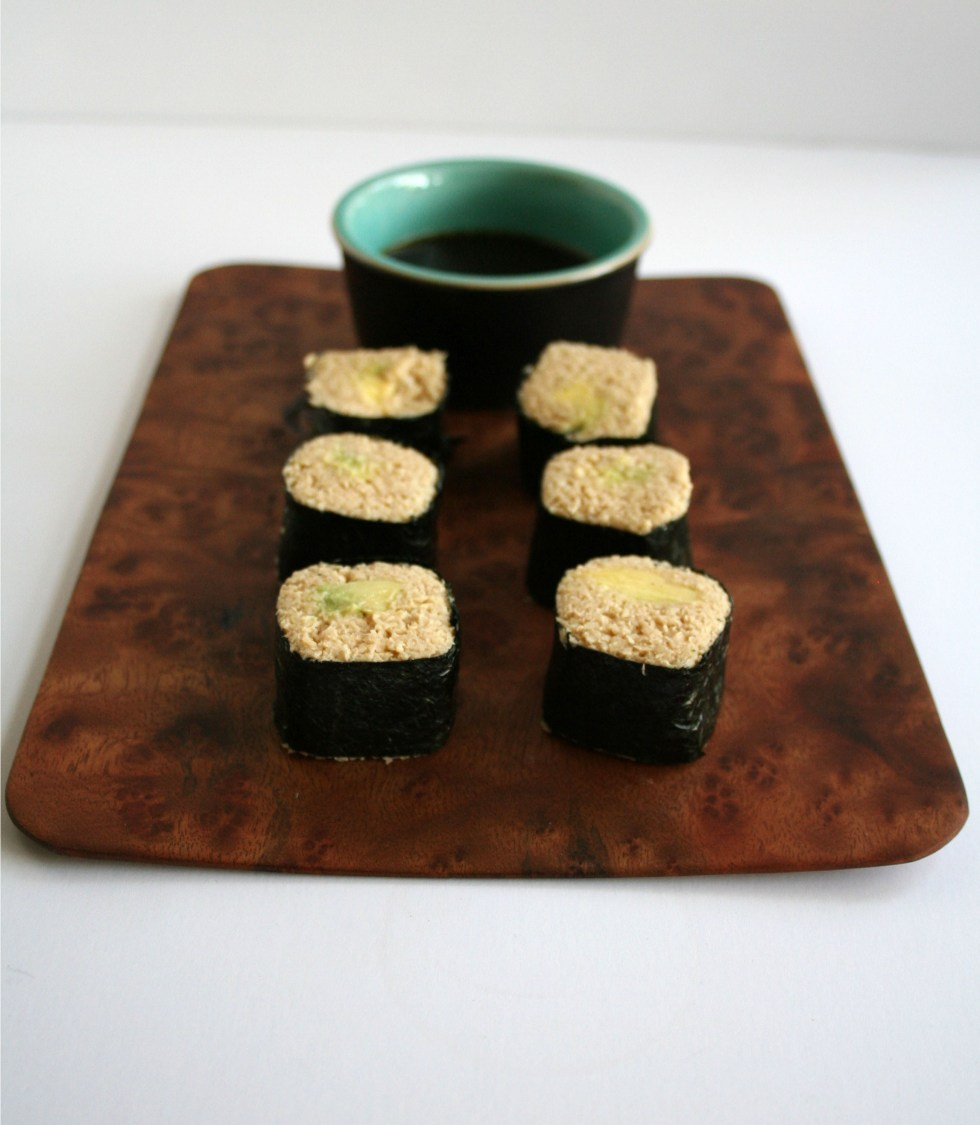 Avocado Sushi Rolls with Parsnip Rice (vegan, gluten free) - These savory sushi rolls are a healthy alternative to white rice. Served with an orange tamari dipping sauce.