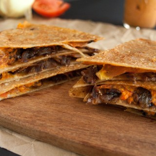 Caramelized Onion and Roasted Red Pepper Hummus Quesadilla