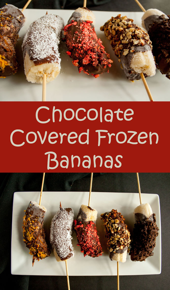 Chocolate Covered Frozen Bananas (vegan, gluten free) -These chocolate covered bananas are truly addictive! Coat them in your favorite crunchy topping.