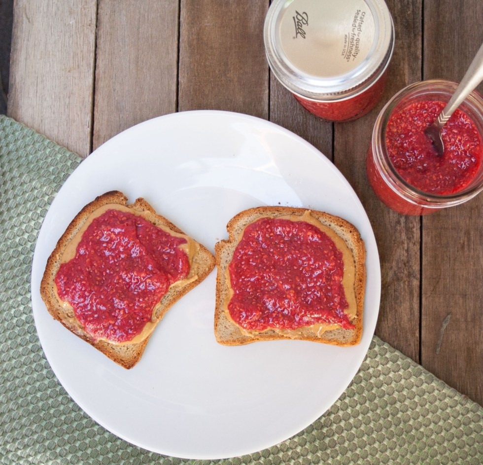 Raspberry Pomegranate Chia Jam - This jam goes great on toast or in a chocolate pudding.