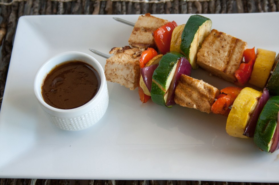 Tofu Kebabs with Hoisen Sauce (vegan, gluten free) - These comforting sweet and savory kebabs are perfect over quinoa or rice.