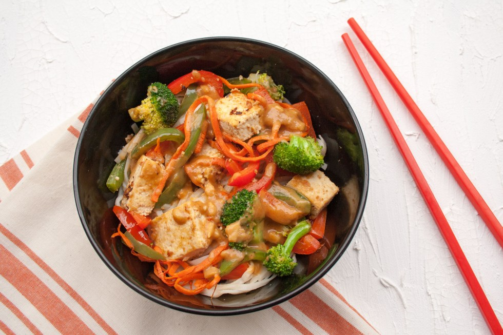 Sesame Ginger Tofu with Thai Noodles (vegan, gluten free) - Why buy take-out when you can make this easy recipe in no time!