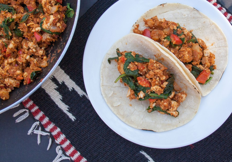 Soy Chorizo and Tofu Breakfast Tacos (vegan, gluten free) - These vegan tacos are spicy and satisfying. They are a perfect way to start your day!