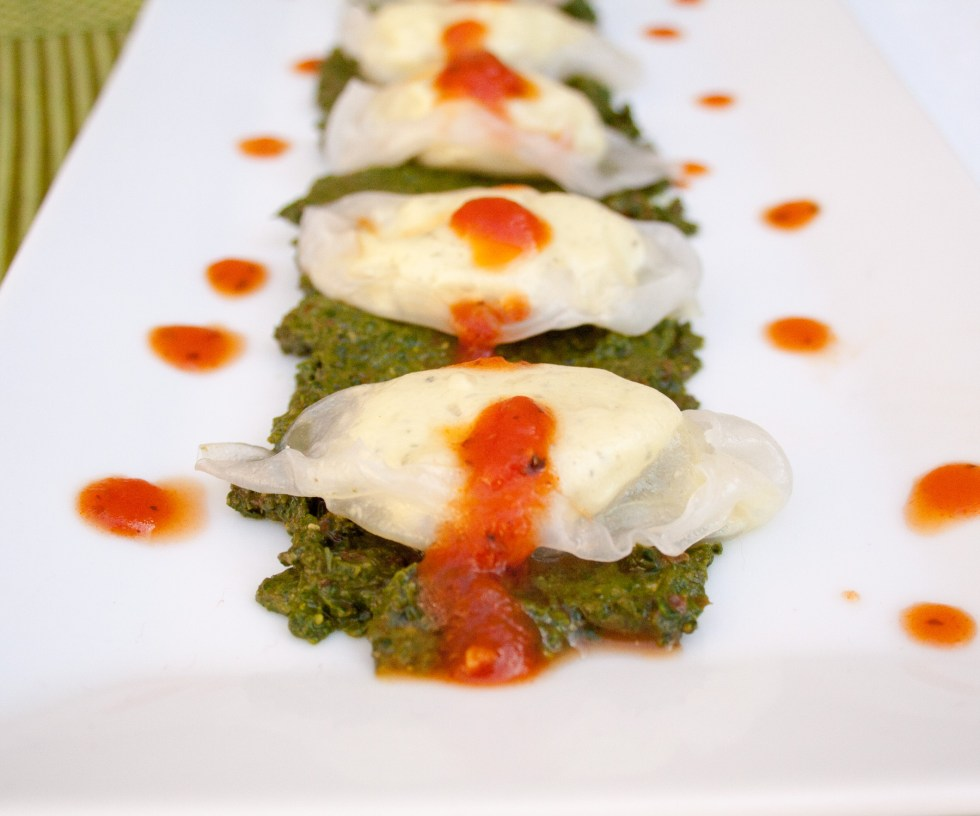 Tofu Ricotta Ravioli with Sun-Dried Tomato Basil Pesto (vegan, gluten free) - Don't want to make your own gluten free dough for ravioli - no problem! Here's an easy way to satisfy your ravioli craving.