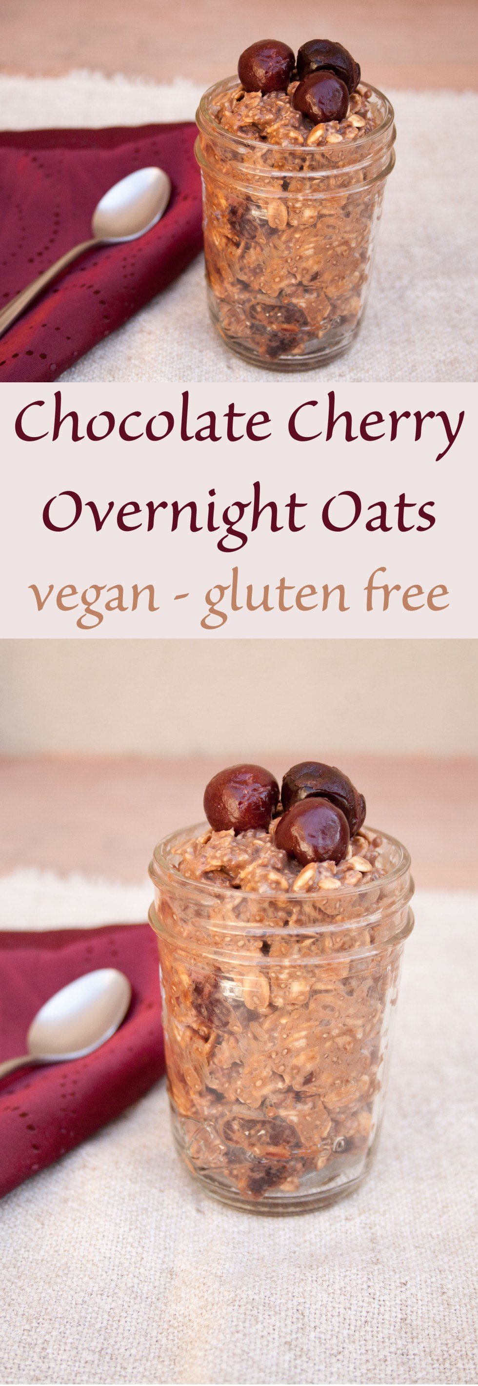 Chocolate Cherry Overnight Oats - Cherry and chocolate for breakfast? Yes, please! These vegan overnight oats are perfect for traveling.