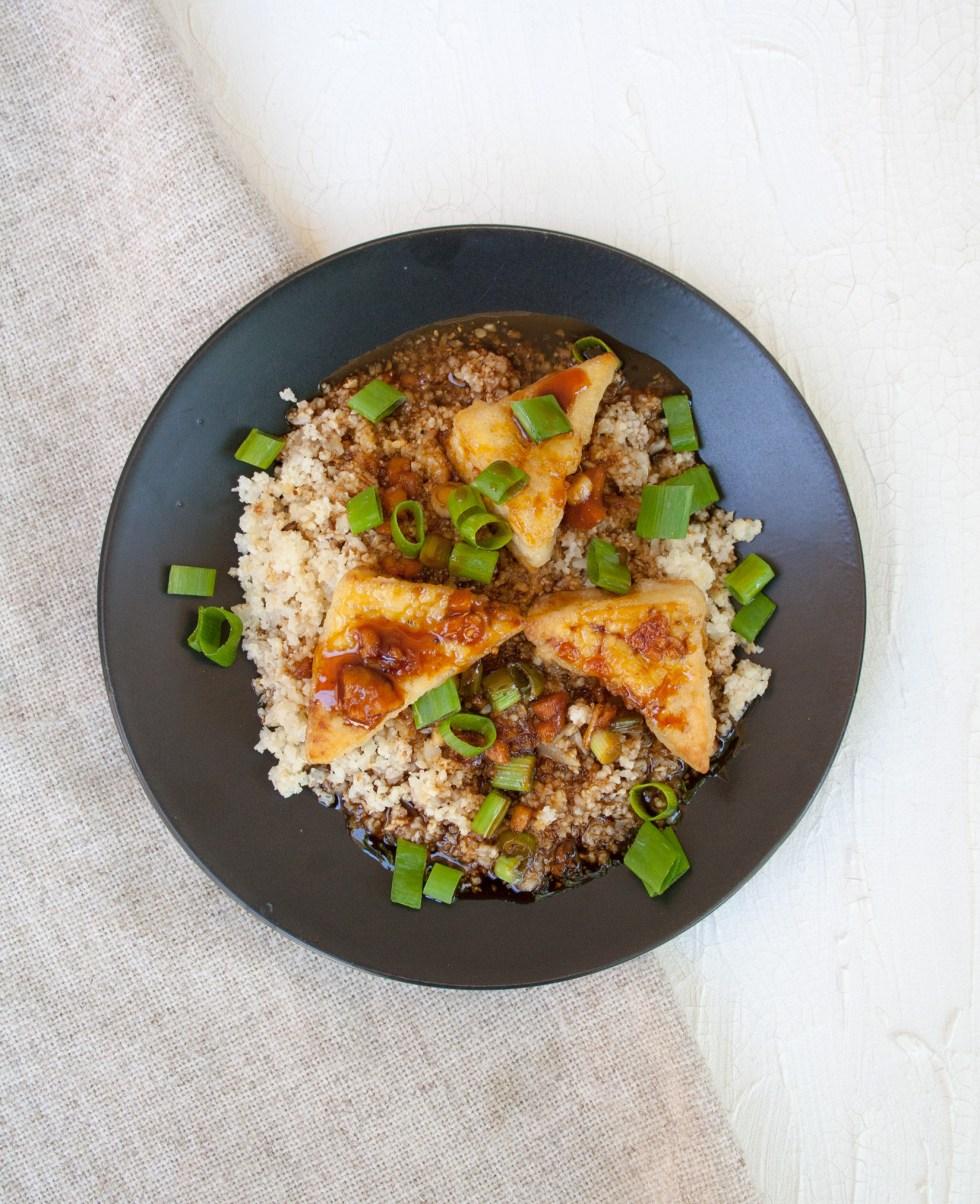 Crispy Teriyaki Tofu and Cauliflower Rice (vegan, gluten free) - Sweet and savory teriyaki sauce over crispy tofu and roasted cauliflower rice.