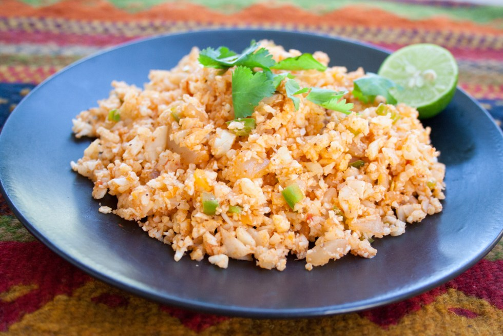 Mexican Cauliflower Rice (vegan, gluten free) - This spicy side dish goes well in a burrito or as a compliment to a Mexican inspired meal.