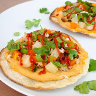 Teriyaki Tofu and Pineapple Tostadas with Sriracha Hummus