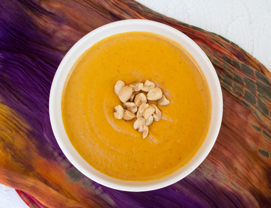 5 Ingredient Curry Peanut Pumpkin Soup (vegan, gluten free ) - This comforting soup is perfect for a weeknight meal or a road trip.