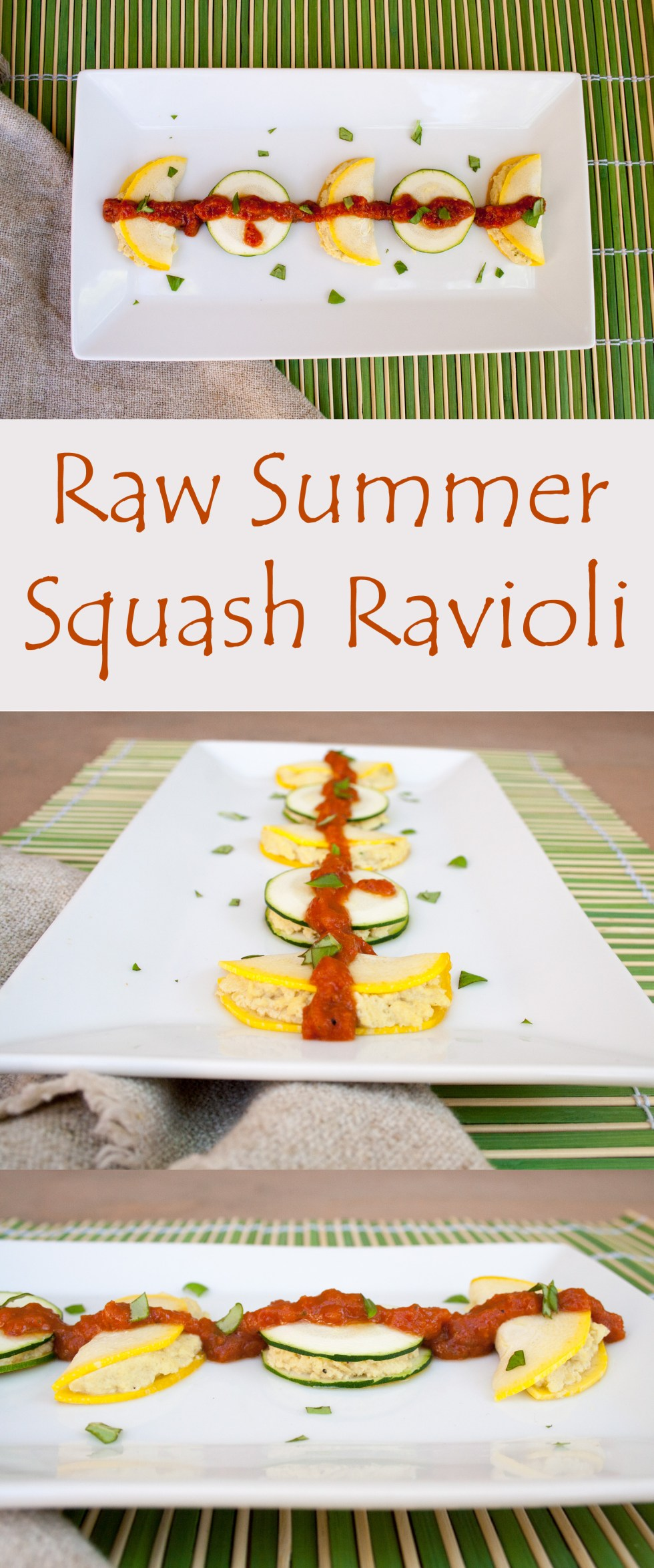 Raw Summer Squash Ravioli - This vegan ravioli is a perfect snack or light meal for Summer. It also makes a nice presentation as an appetizer for a party.