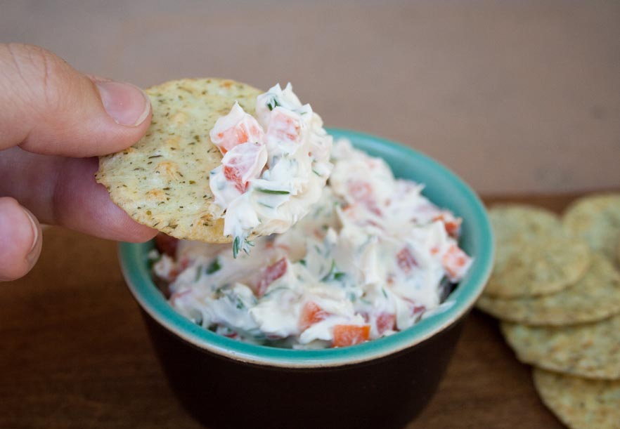 Vegan Garden Vegetable Cream Cheese - This creamy dip gets some healthy crunch from garden vegetables. Fresh herbs add even more flavor. Pair it with your favorite crackers for a satisfying snack.