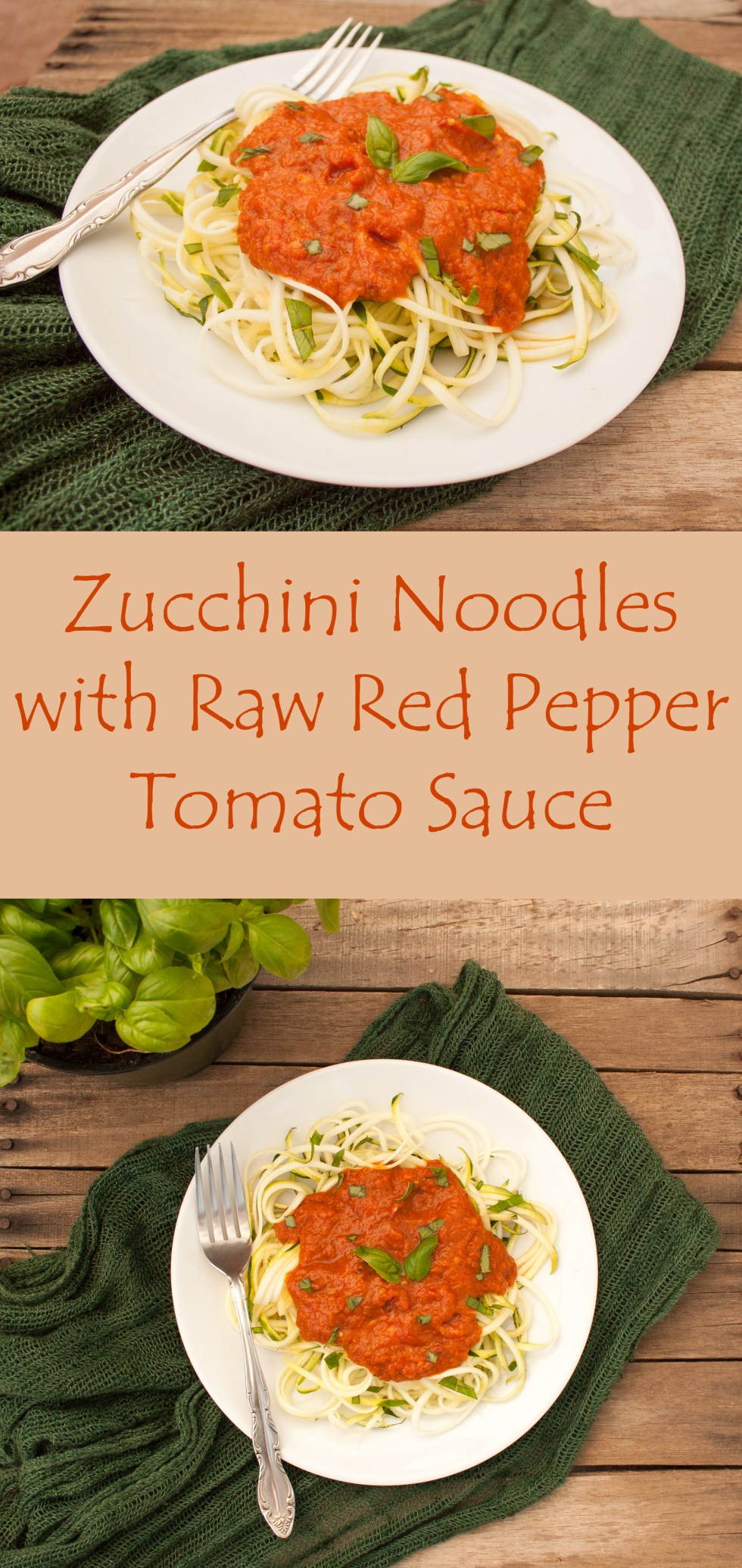 Zucchini noodles with raw red pepper sauce create mindfully zucchini noodles with raw red pepper sauce this raw vegan dish can be served hot forumfinder Choice Image
