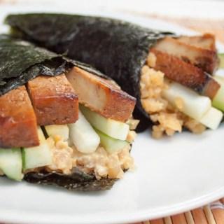 Baked Tofu Temaki Sushi with Cauliflower Rice