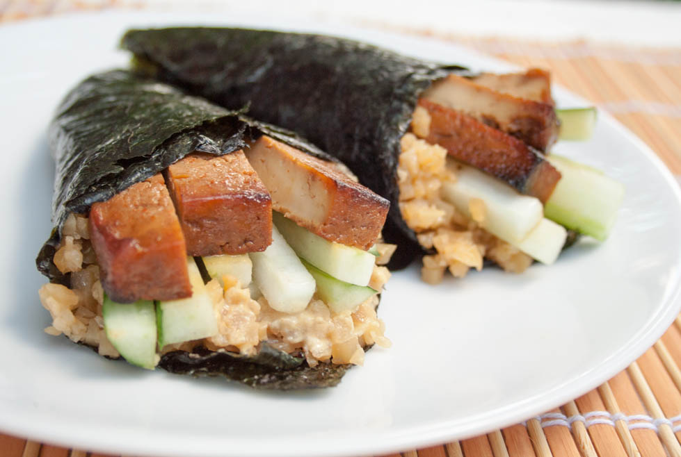 Baked Tofu Temaki Sushi with Cauliflower Rice (vegan, gluten free) - These easy sweet, savory, and spicy hand-rolls are a host's best friend. Each guest can customize their own!