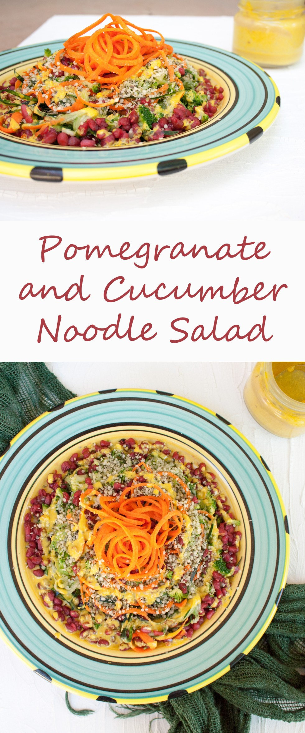 Pomegranate and Cucumber Noodle Salad (vegan, gluten free) - This sweet, savory salad is not only visually appealing, but has many health benefits as well.