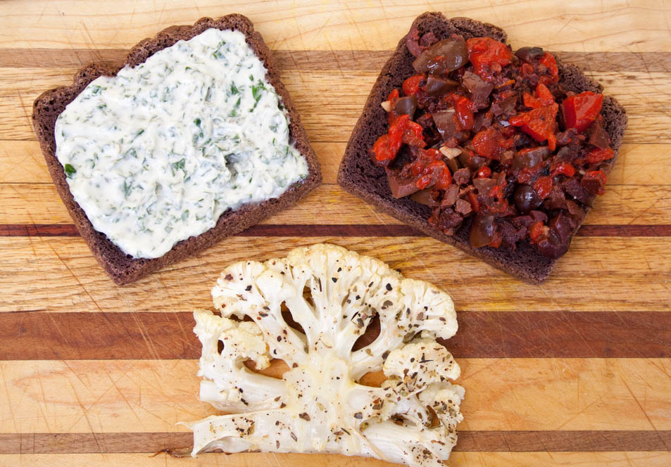 Roasted Cauliflower Steak Sandwich with Red Pepper and Black Olive Tapenade (vegan, gluten free) This is rich and satisfying. Perfect for a weeknight meal.