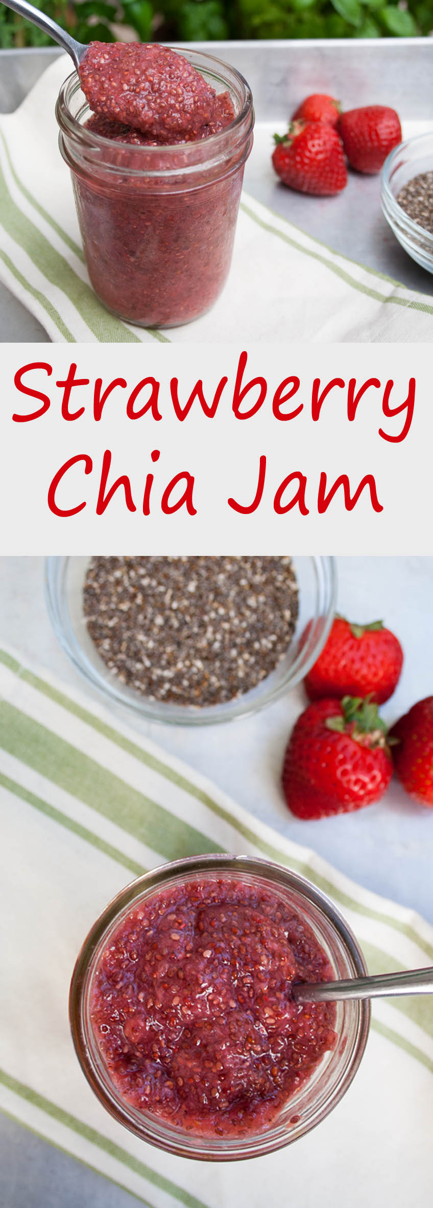 Strawberry Chia Jam (vegan, gluten free) - This easy homemade jam has only three ingredients. It is low carb and sweetened with only a little agave syrup.
