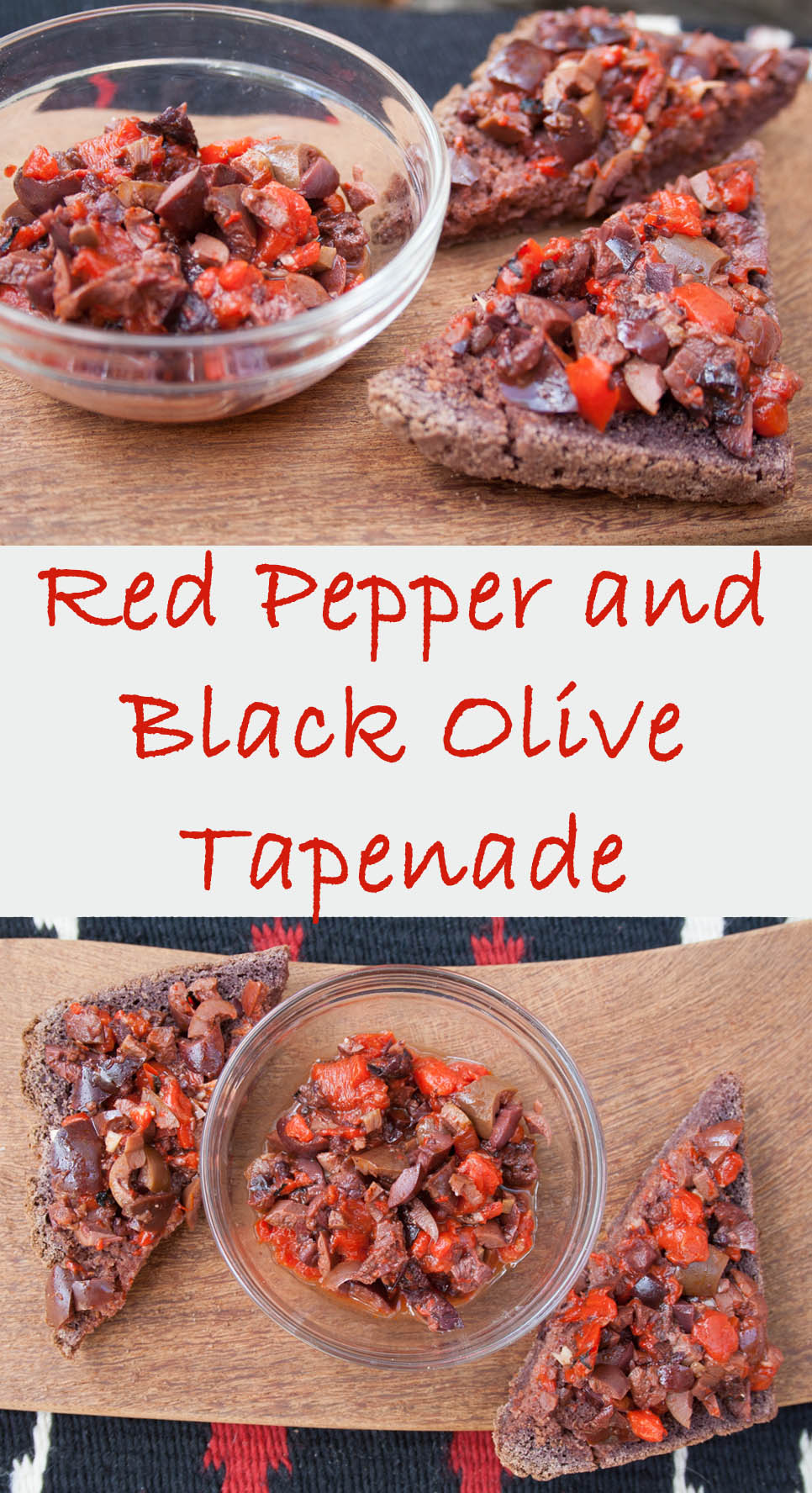 Red Pepper and Black Olive Tapenade (vegan, gluten free) - This tapenade is perfect for entertaining because it comes together in minutes!