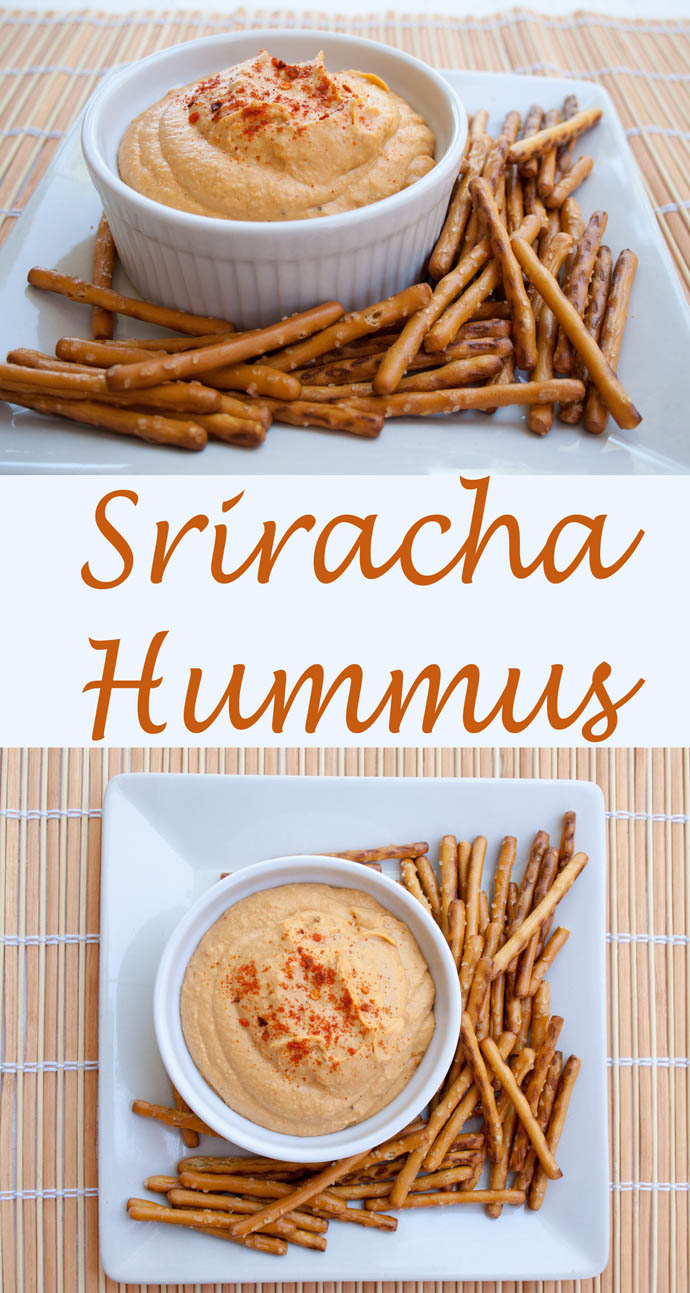 Sriracha Hummus (vegan, gluten free) - This hummus recipe has spicy sriracha to give it a kick. Easy to make and costs less than store bought. Perfect for game day!