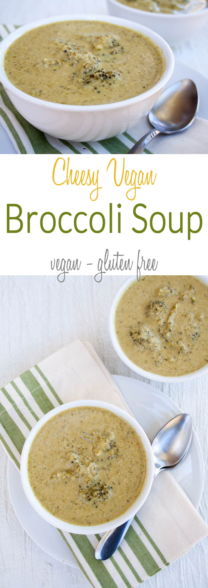 Cheesy Vegan Broccoli Soup (gluten free) - This easy comforting soup is a perfect weeknight meal. Raw cashews add a creamy texture and nutty taste. Nutritional yeast adds a cheesy flavor, as well as B vitamins.