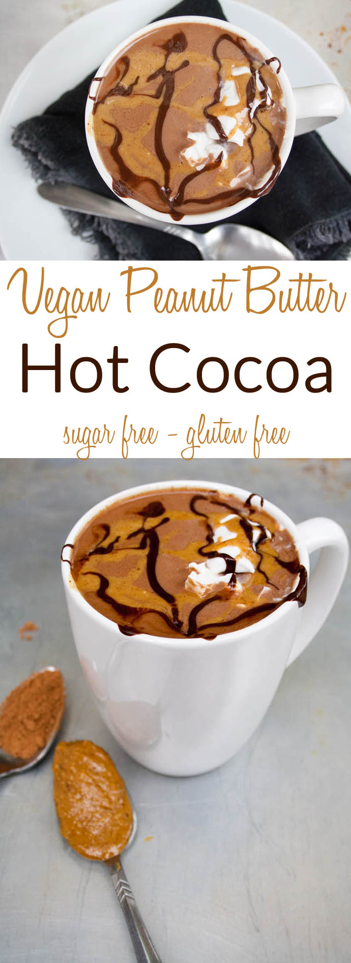 Vegan Peanut Butter Hot Cocoa (sugar free, gluten free) - This easy healthy comforting drink will make you wonder why you ever bought the packaged mixes.