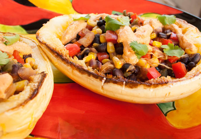 Southwest Spaghetti Squash (vegan, gluten free) - This recipe is a healthy meal. It is loaded with black beans, corn, and red pepper on a bed of spaghetti squash with a smoky chipotle dressing.