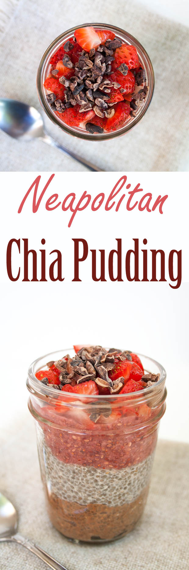 Neapolitan Chia Pudding (vegan, gluten free) - This healthy pudding can be eaten for breakfast or dessert. It is easy to make and great for on the go!