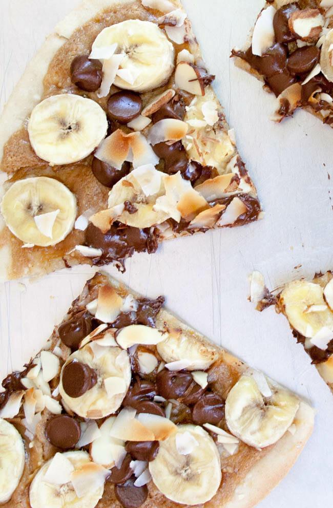 Banana, Chocolate and Peanut Butter Dessert Pizza vertical close up.