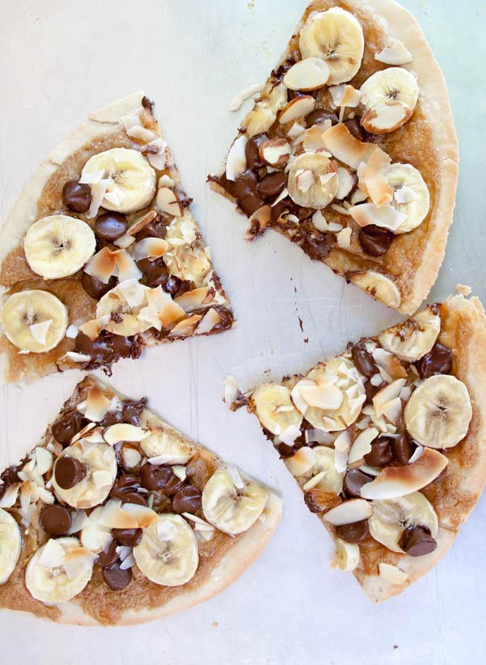 Banana, Chocolate and Peanut Butter Dessert Pizza birds eye.