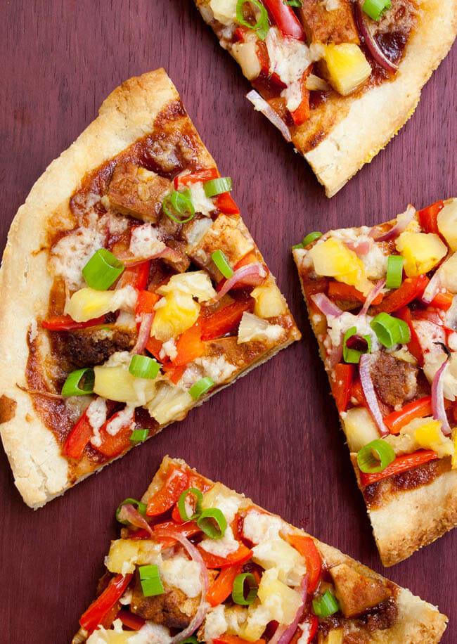 Vegan Hawaiian BBQ Pizza vertical close up.