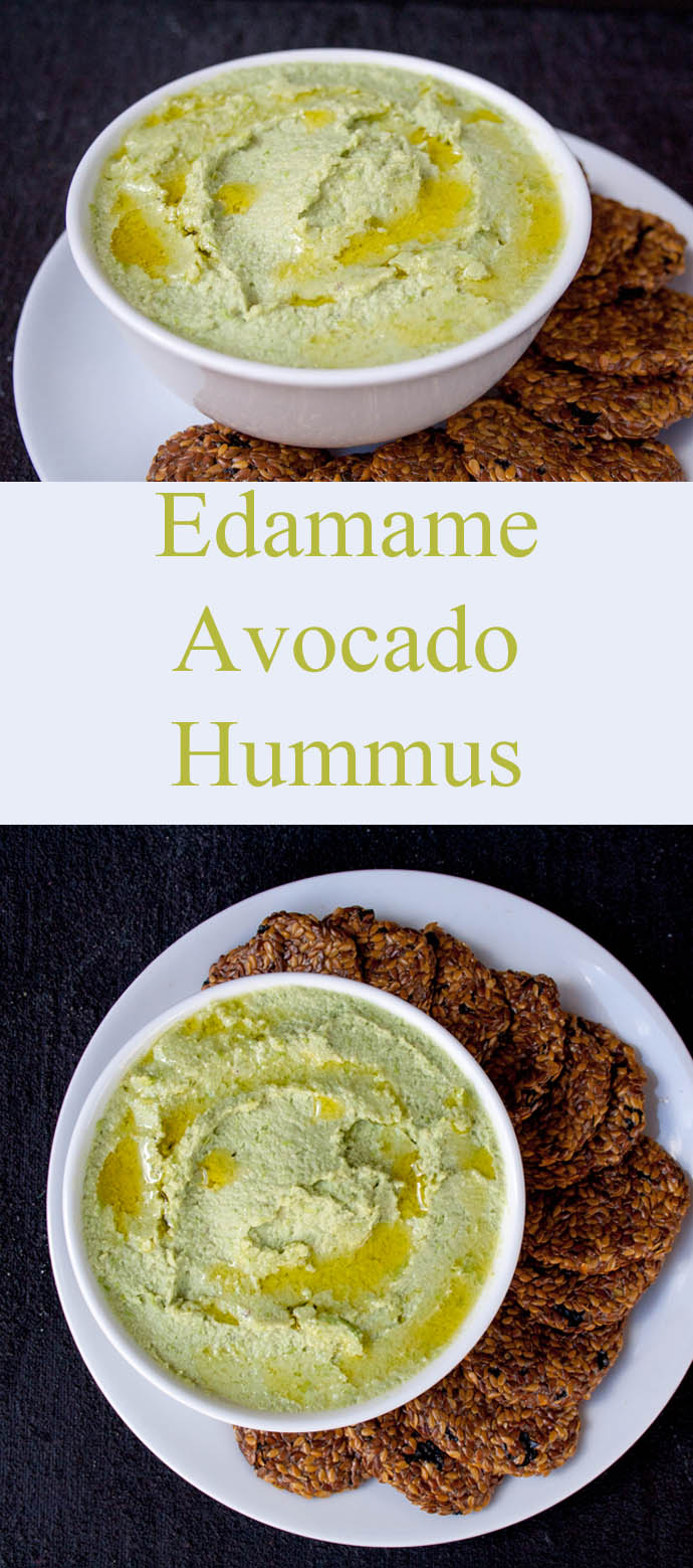 Edamame Avocado Hummus (vegan, gluten free) - This creamy hummus is easy to make and is cheaper than store bought! It is perfect for people on a low carb diet.