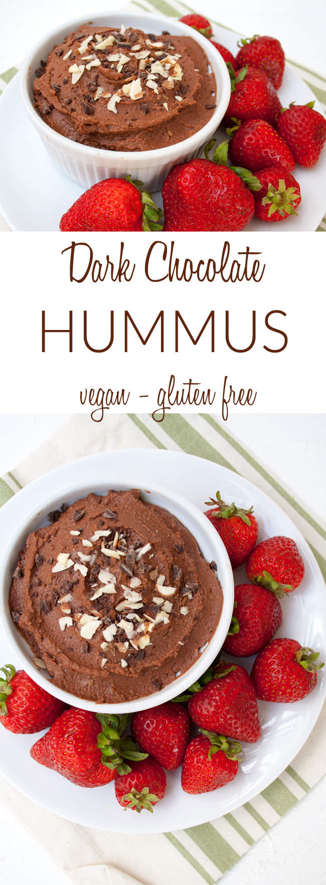 Dark Chocolate Hummus (vegan, gluten free) - This healthy dessert dip combines two great snacks into one. It can be used as a frosting or eaten by the spoonful!
