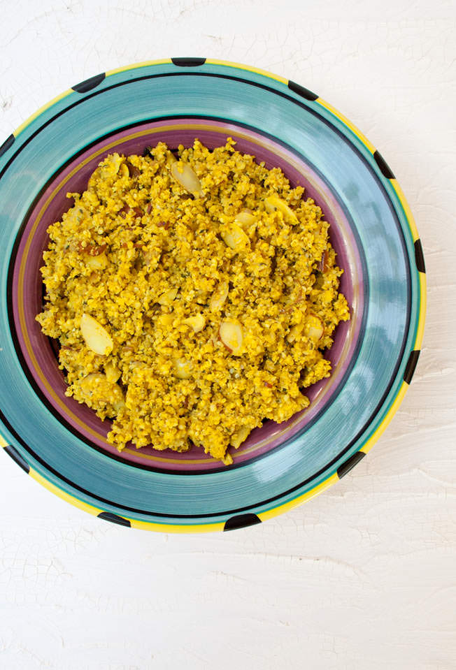Hemp Seed Cauliflower Rice Pilaf (vegan, gluten free, keto option) - This sweet and savory pilaf is a healthy low carb alternative to rice.