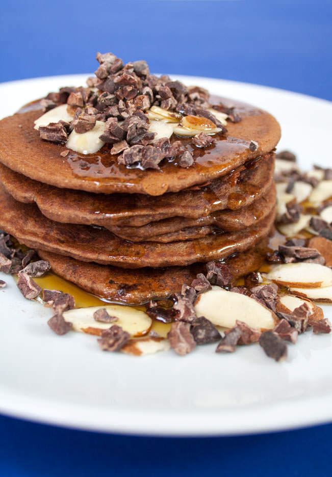 Chocolate Almond Pancakes (vegan, gluten free) - These sweet pancakes are the perfect brunch treat! Chocolate and almond are a match made in heaven!