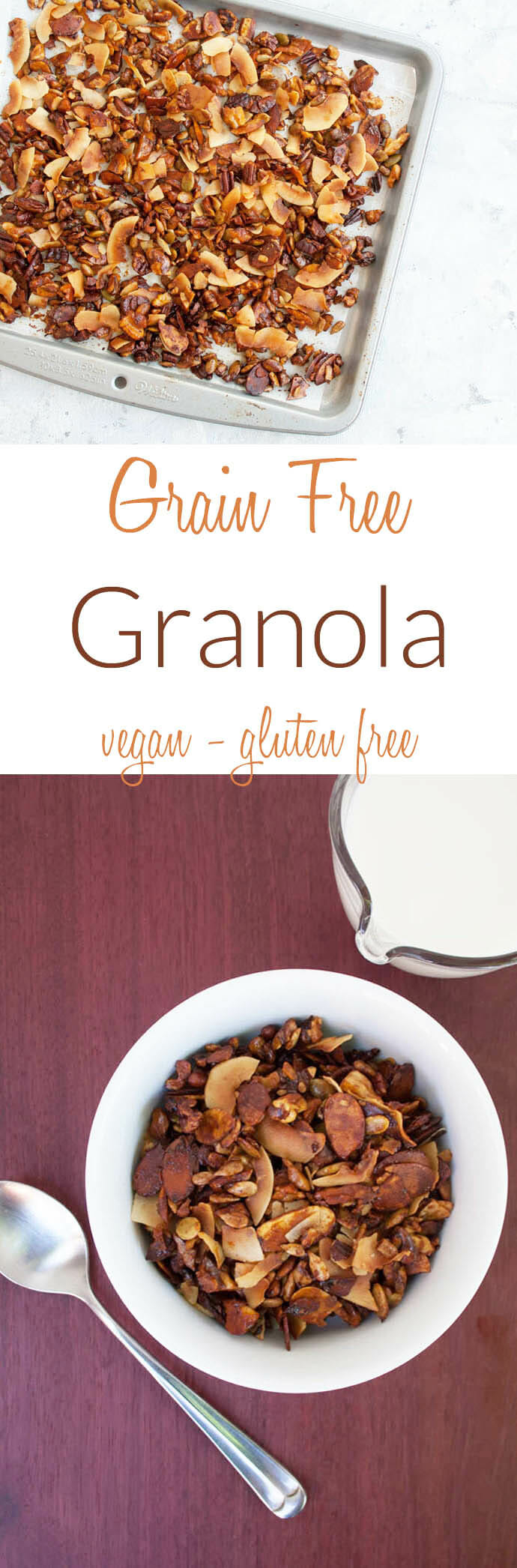 Grain Free Granola collage photo with text.