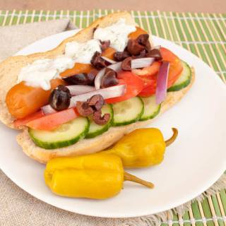 Greek Vegan Hot Dog