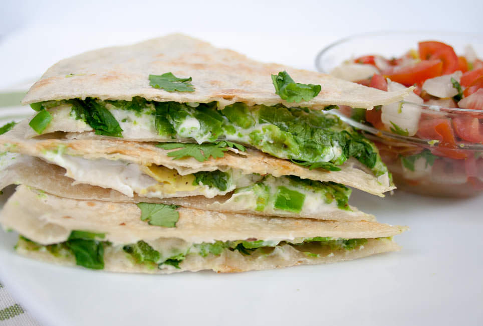Vegan Avocado Quesadilla with Jalapeño close up
