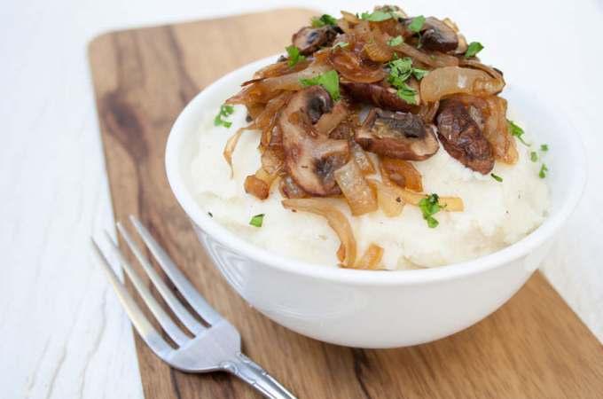 Vegan Mashed Cauliflower with Caramelized Onions and Mushrooms