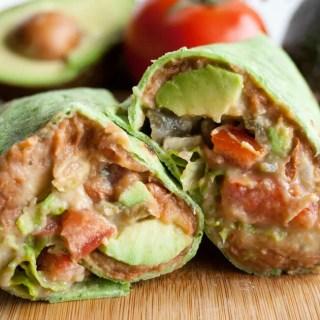 Vegan Refried Bean Burrito with Jalapeño Cilantro Hummus