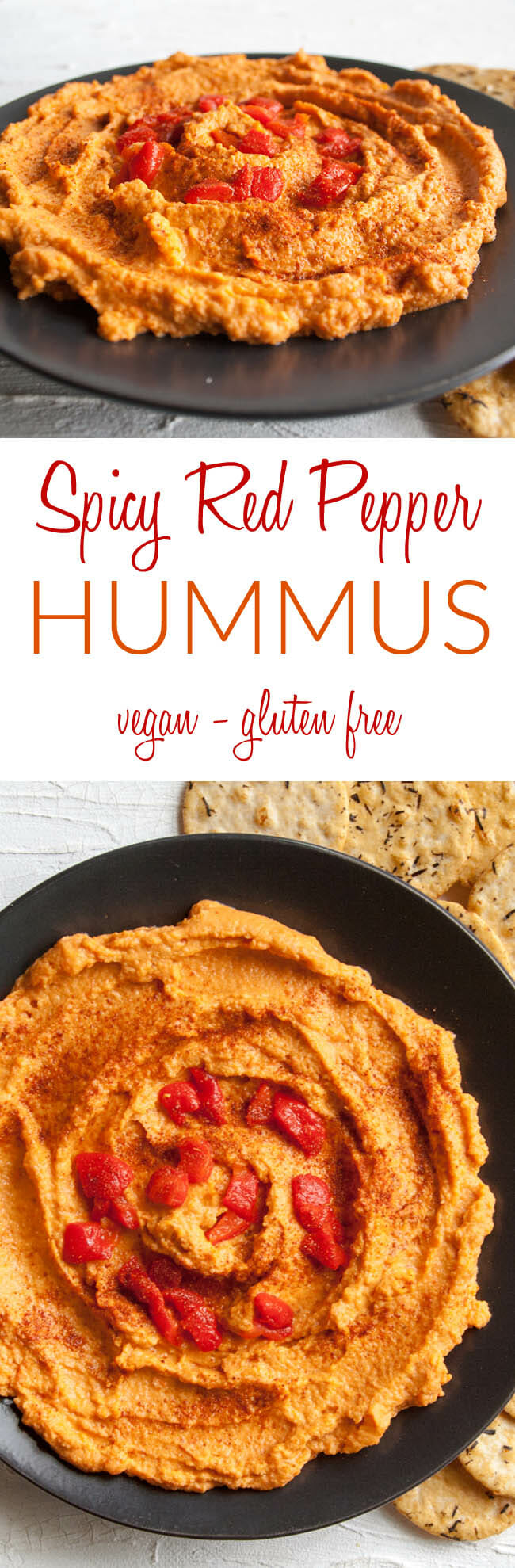 Spicy Red Pepper Hummus collage photo with text in the middle.