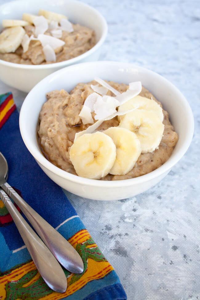 Two bowls of Peanut Butter Banana Porridge