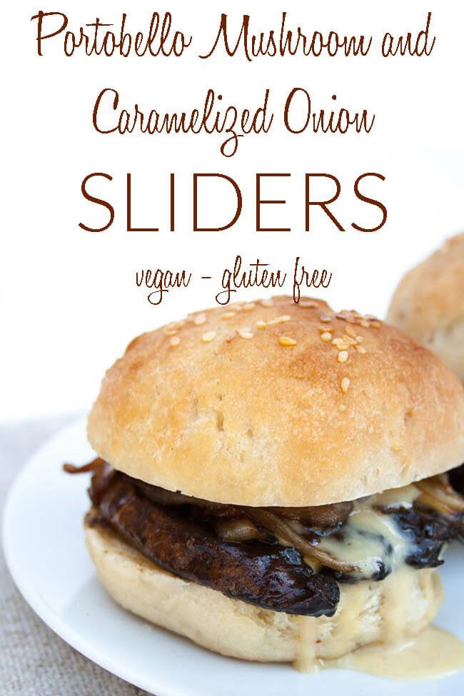 Portobello Mushroom and Caramelized Onion Sliders photo with text.