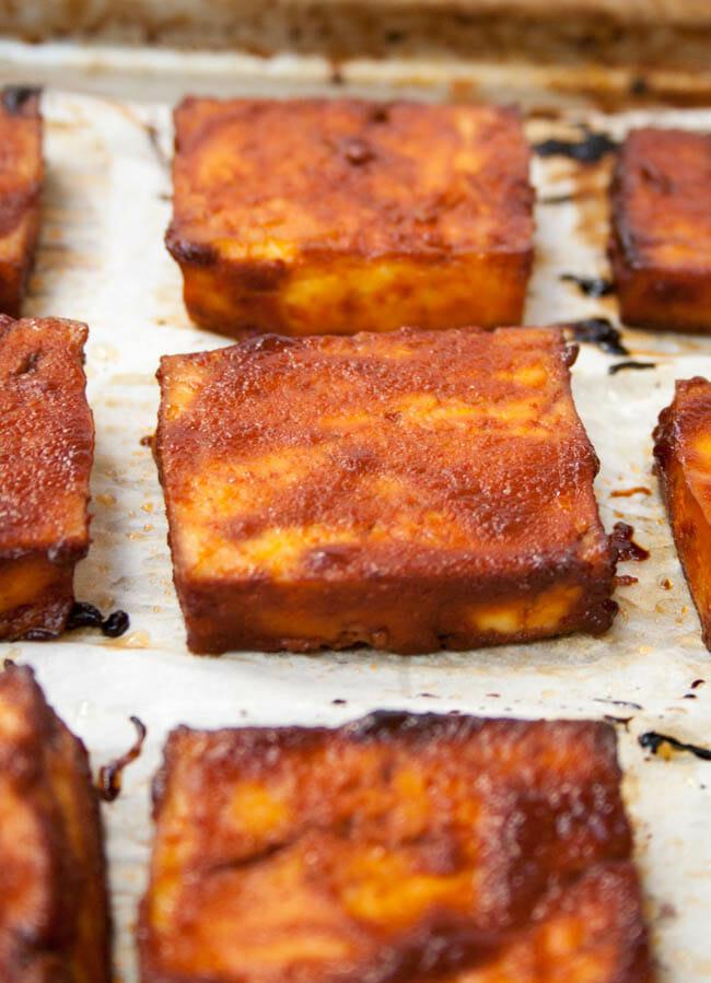 Baked BBQ Tofu close up.
